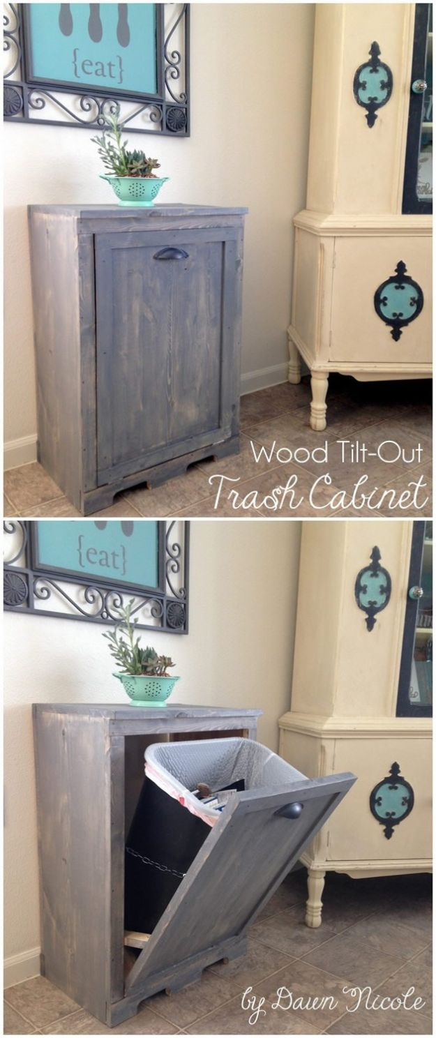 DIY Trash Cans - Wood Tilt Out Trash Can Cabinet - Easy Do It Yourself Projects to Make Cute, Decorative Trash Cans for Bathroom, Kitchen and Bedroom - Trash Can Makeover, Hidden Kitchen Storage With Pull Out Cabinet - Lids, Liners and Painted Decor Ideas for Updating the Bin #diykitchen #diybath #trashcans #diy #diyideas #diyjoy http://diyjoy.com/diy-trash-cans