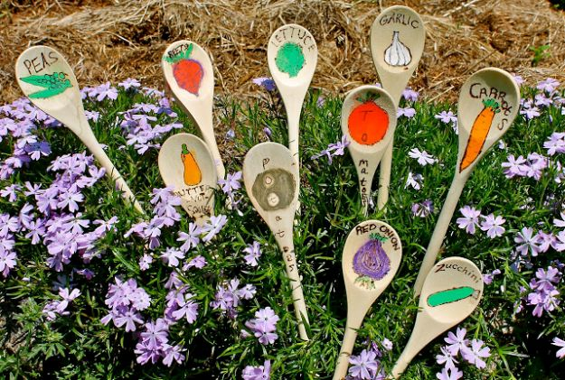 Crafts for Girls - Wooden Spoon Garden Stakes - Cute Crafts for Young Girls, Toddlers and School Children - Fun Paints to Make, Arts and Craft Ideas, Wall Art Projects, Colorful Alphabet and Glue Crafts, String Art, Painting Lessons, Cheap Project Tutorials and Inexpensive Things for Kids to Make at Home - Cute Room Decor and DIY Gifts #girlsgifts #girlscrafts #craftideas #girls