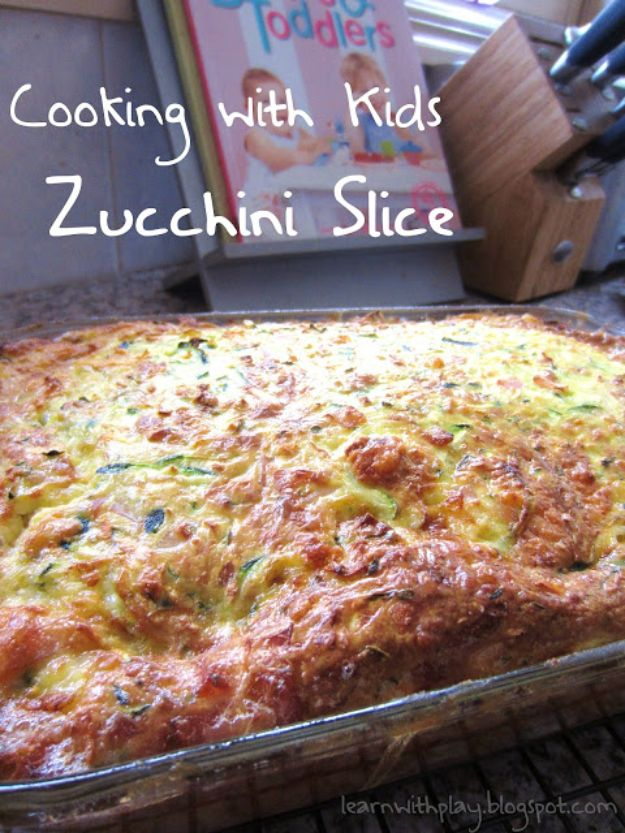 Best Recipes To Teach Your Kids To Cook - Zucchini Slice - Easy Ideas To Show Children How to Prepare Food - Kid Friendly Recipes That Boys and Girls Can Make Themselves - No Bake, 5 Minute Foods, Healthy Snacks, Salads, Dips, Roll Ups, Vegetables and Simple Desserts - Recipes To Learn How To Make Fun Food http://diyjoy.com/best-recipes-teach-kids-to-cook