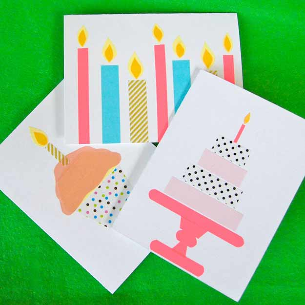 Free DIY Birthday Cards - Easy Birthday Cards to Make at Home - Washi Tape Card Tutorial - Cute Gift Cards to Make for Birthdays - DIY Birthday Cards for Boys and Girls #birthdaygifts #birthdays #birthdaycards