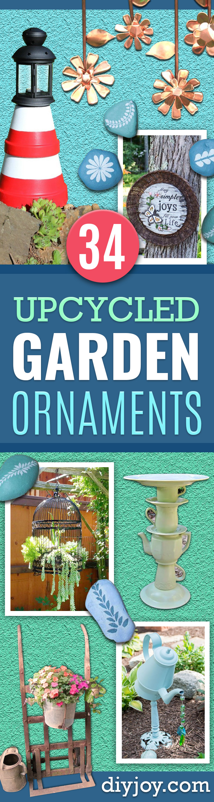 DIY Garden Decor Ideas - Crafts for Outdoors - DYI Garden Ornaments to Make for Backyard Decoration - Upcycled Thrift Store Ideas for Gardening Projects