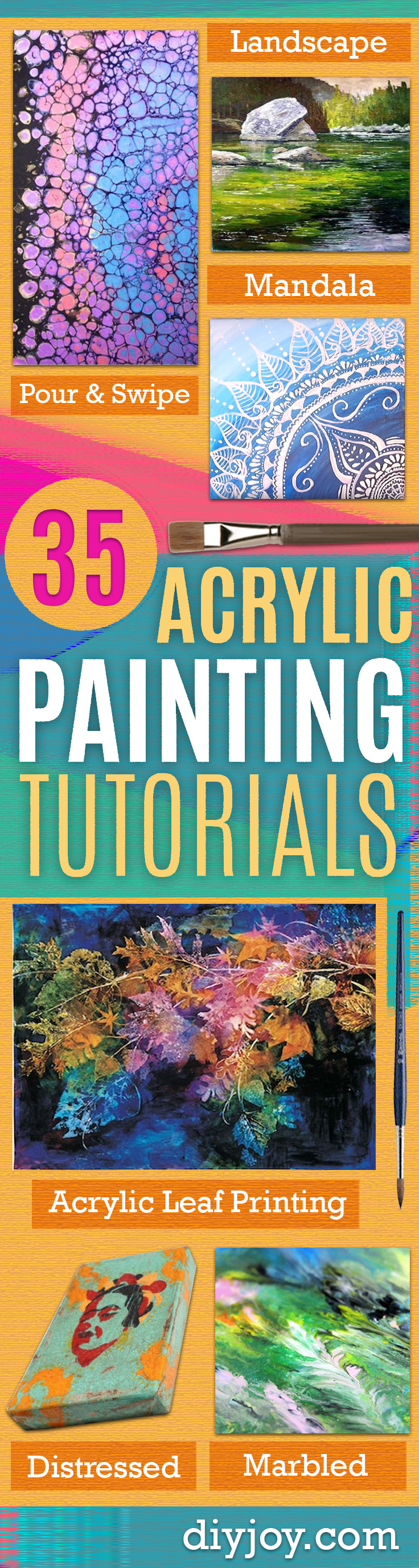 Acrylic Painting Tutorials and Techniques - DIY Acrylic Painting Ideas on Canvas - Make Flowers, Ocean, Sky, Abstract People, Landscapes, Buildings, Animals, Portraits, Sunset With Acrylics - Step by Step Art Lessons for Beginners - Easy Video Tutorials and How To for Acrylic Paintings #art #acrylic #diyart #artlessons #painting http://diyjoy.com/acrylic-painting-tutorials