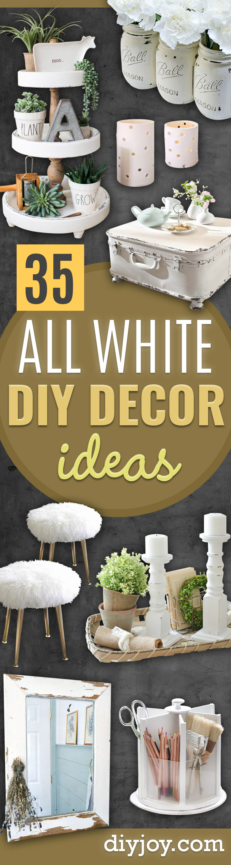 All White DIY Room Decor - Creative Home Decor Ideas for the Bedroom and Living Room, Kitchen and Bathroom - Do It Yourself Crafts and White Wall Art, Bedding, Curtains, Lamps, Lighting, Rugs and Accessories - Easy Room Decoration Ideas for Modern, Vintage Farmhouse and Minimalist Furnishings - Furniture, Wall Art and DIY Projects With Step by Step Tutorials and Instructions http://diyjoy.com/all-white-decor-ideas