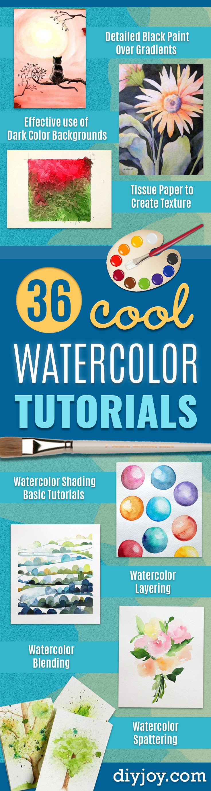 Watercolor Tutorials and Techniques - How To Paint With Watercolor - Make Watercolor Flowers, Ocean, Sky, Abstract People, Landscapes, Buildings, Animals, Portraits, Sunset - Step by Step Art Lessons for Beginners - Easy Video Tutorials and How To for Watercolors and Paint Washes #art #watercolor
