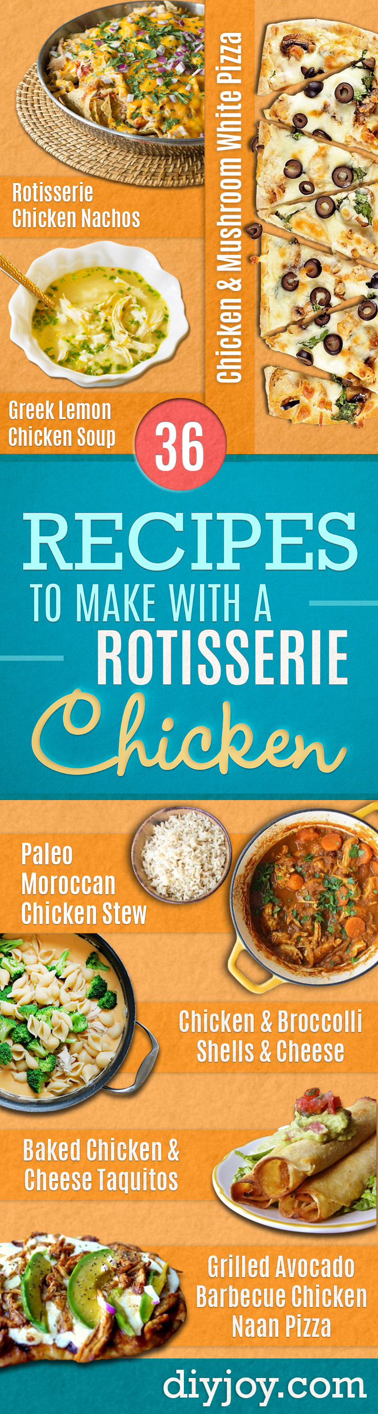Easy Recipes For Rotisserie Chicken - Healthy Recipe Ideas for Leftovers - Comfort Foods With Chicken - Low Carb and Gluten Free, Crock Pot Meals, Appetizers, Salads, Sour Cream Enchiladas, Pasta, One Pot Meals and Casseroles for Quick Dinners