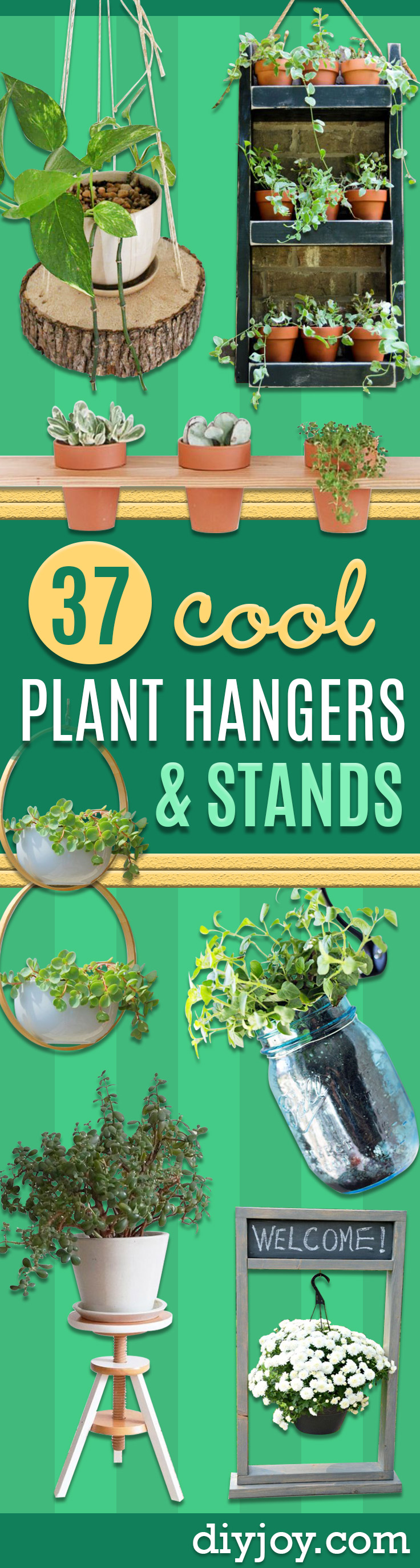 DIY Plant Hangers and Stands for Gardening Indoors and Outside - Cute and Easy Home Decor Ideas for Plants - How To Make Planters, Hanging Pot Holders, Wire, Rope and Baskets - Quick DIY Gifts Ideas, Macrame Plant Hanger