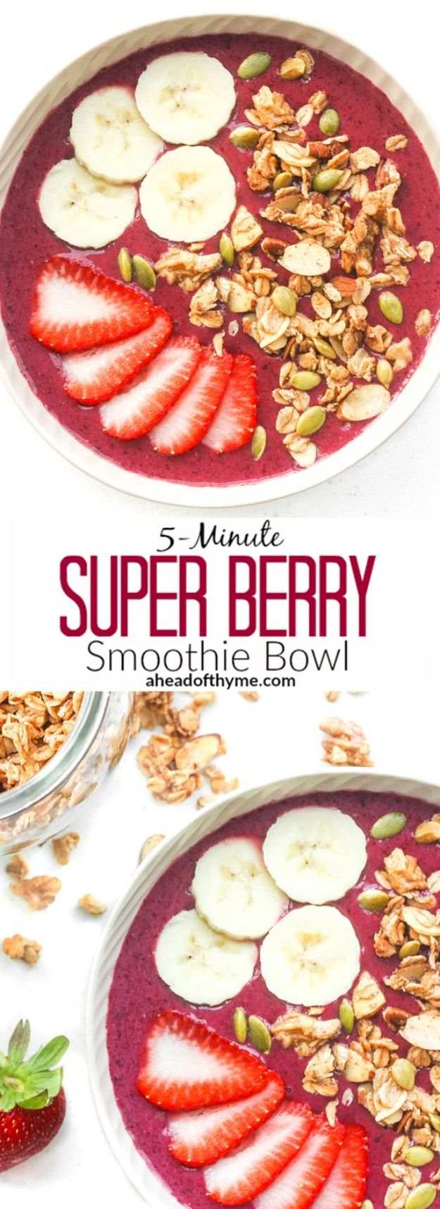 Quick Dessert Recipes - 5-Minute Super Berry Smoothie Bowl Recipe - Fast Desserts to Make In Minutes - Sweet Treats, Cookies, Cake and Snack Ideas