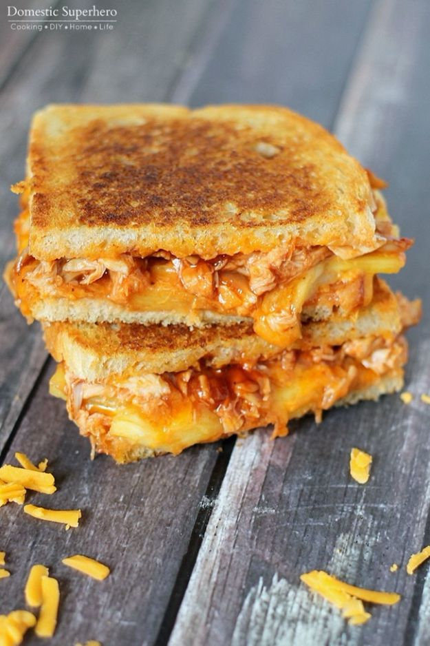 Easy Recipes For Rotisserie Chicken - BBQ Chicken & Pineapple Grilled Cheese - Shredded Chicken Parmesan Sandwich - Healthy Recipe Ideas for Leftovers - Comfort Foods With Chicken - Low Carb and Gluten Free, Crock Pot Meals, Appetizers, Salads, Sour Cream Enchiladas, Pasta, One Pot Meals and Casseroles for Quick Dinners http://diyjoy.com/recipes-rotisserie-chicken