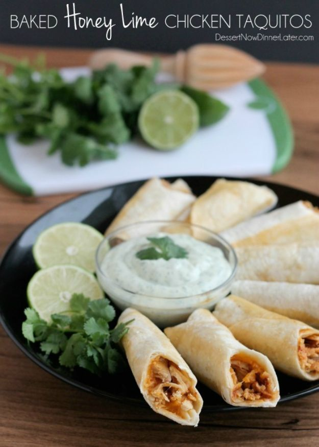 Easy Recipes For Rotisserie Chicken - Baked Honey Lime Chicken Taquitos - Healthy Recipe Ideas for Leftovers - Comfort Foods With Chicken - Low Carb and Gluten Free, Crock Pot Meals, Appetizers, Salads, Sour Cream Enchiladas, Pasta, One Pot Meals and Casseroles for Quick Dinners http://diyjoy.com/recipes-rotisserie-chicken