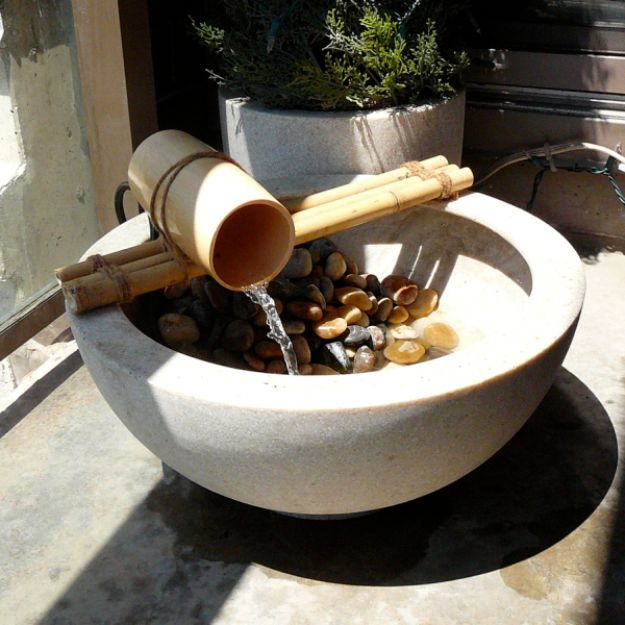 DIY Fountains - Bamboo Water Feature - Easy Ways to Make A Fountain in the Backyard - Do It Yourself Projects for the Garden - DIY Home Improvement on a Budget - Step by Step DIY Tutorials With Instructions http://diyjoy.com/diy-fountains