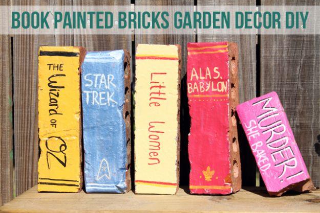 Garden Art Project Ideas - Brick Crafts -Book Painted Bricks DIY