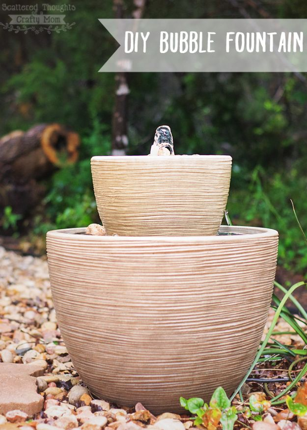 DIY Fountains - Bubble Fountain in a Pot - Easy Ways to Make A Fountain in the Backyard - Do It Yourself Projects for the Garden - DIY Home Improvement on a Budget - Step by Step DIY Tutorials With Instructions http://diyjoy.com/diy-fountains