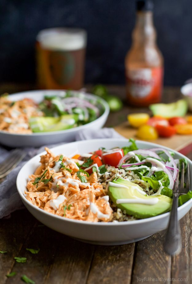 Easy Recipes For Rotisserie Chicken - Buffalo Chicken Quinoa Bowls - Healthy Recipe Ideas for Leftovers - Comfort Foods With Chicken - Low Carb and Gluten Free, Crock Pot Meals,#easyrecipes #dinnerideas #recipes