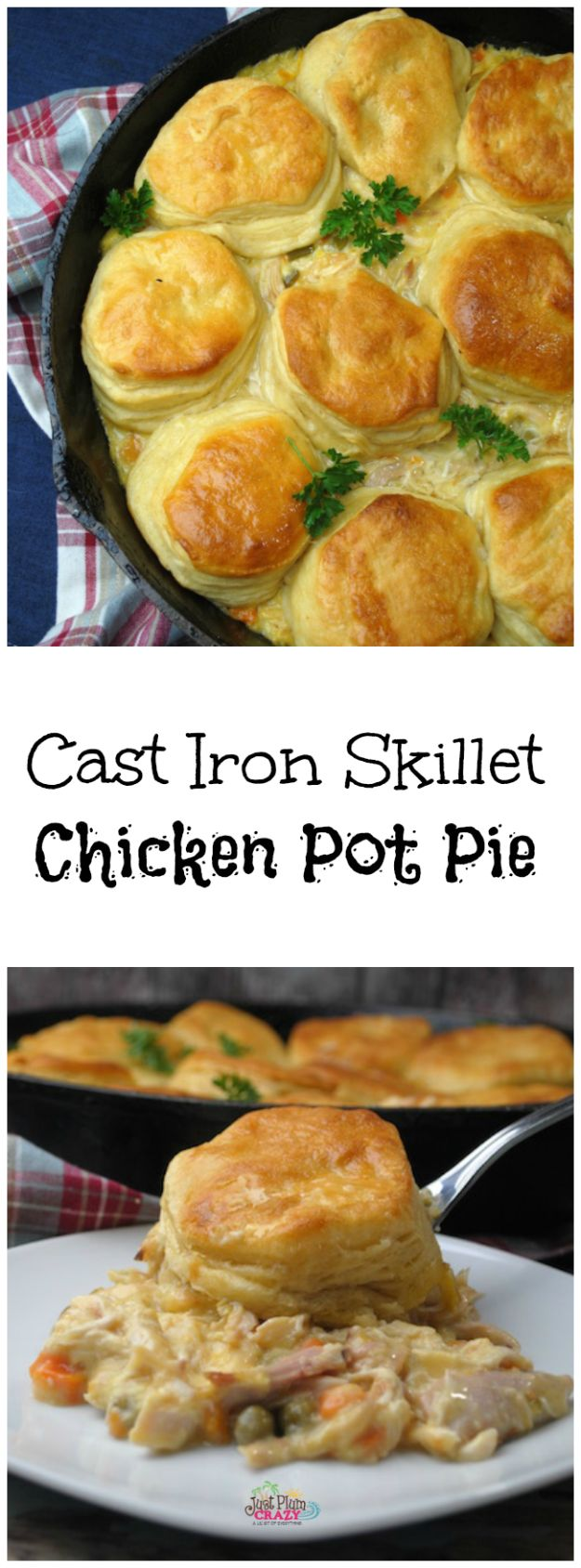 Easy Recipes For Rotisserie Chicken - Cast Iron Skillet Chicken Pot Pie - Healthy Recipe Ideas for Leftovers - Comfort Foods With Chicken - Low Carb and Gluten Free, Crock Pot Meals,#easyrecipes #dinnerideas #recipes