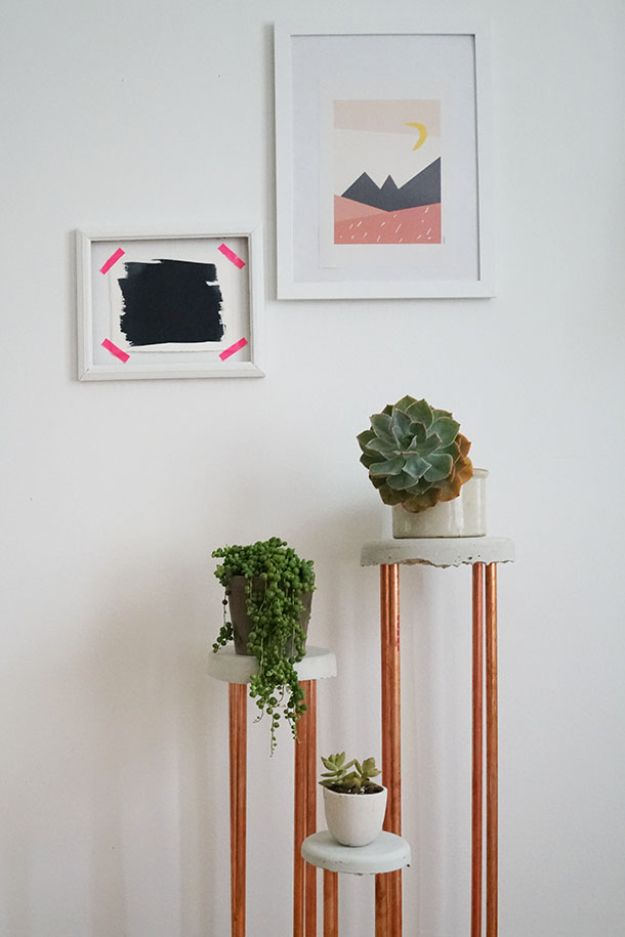 DIY Plant Hangers - Cement Copper Plant Stand - Cute and Easy Home Decor Ideas for Plants - How To Make Planters, Hanging Pot Holders, Wire, Rope and Baskets - Quick DIY Gifts Ideas, Macrame Plant Hanger #gardening #plants #diyideas