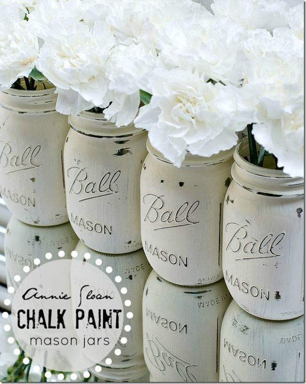 All White DIY Room Decor - Chalk Paint Mason Jars - Creative Home Decor Ideas for the Bedroom and Living Room, Kitchen and Bathroom - Do It Yourself Crafts and White Wall Art, Bedding, Curtains, Lamps, Lighting, Rugs and Accessories - Easy Room Decoration Ideas for Modern, Vintage Farmhouse and Minimalist Furnishings - Furniture, Wall Art and DIY Projects With Step by Step Tutorials and Instructions #diydecor