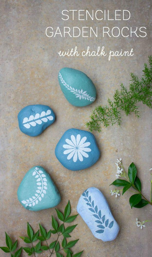 Creative Garden Art Ideas -Crafts for Outdoors - Cool Garden Art Ideas with Pebbles -How to Make Chalk Paint Stenciled Garden Rocks