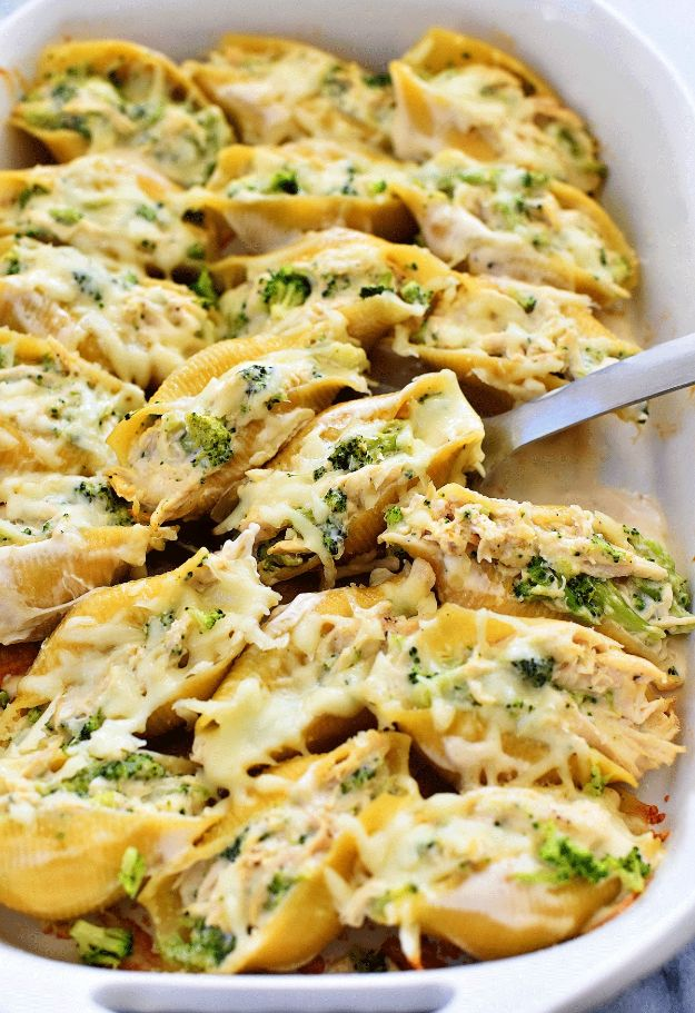 Easy Recipes For Rotisserie Chicken - Chicken & Broccoli Alfredo Stuffed Shells - Healthy Recipe Ideas for Leftovers - Comfort Foods With Chicken - Low Carb and Gluten Free, Crock Pot Meals,#easyrecipes #dinnerideas #recipes
