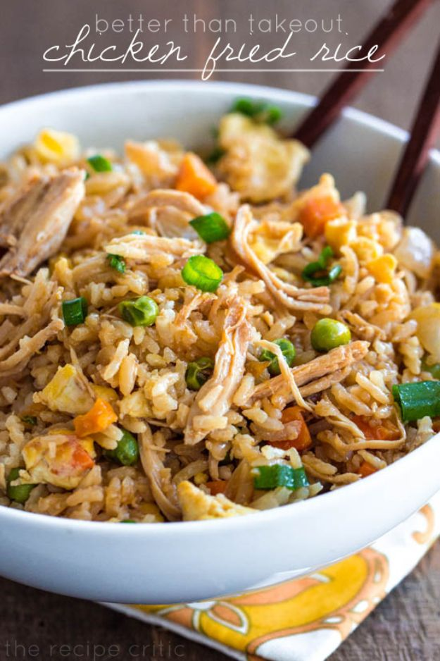 Easy Recipes For Rotisserie Chicken - Chicken Fried Rice - Healthy Recipe Ideas for Leftovers - Comfort Foods With Chicken - Low Carb and Gluten Free, Crock Pot Meals,#easyrecipes #dinnerideas #recipes