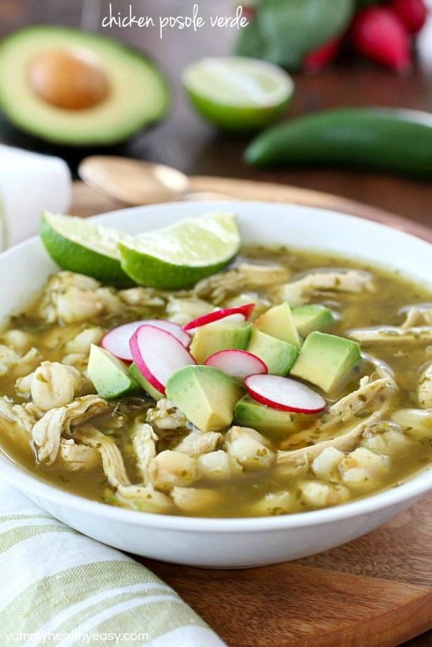 Easy Recipes For Rotisserie Chicken - Chicken Posole Verde Recipe - Healthy Recipe Ideas for Leftovers - Comfort Foods With Chicken - Low Carb and Gluten Free, Crock Pot Meals,#easyrecipes #dinnerideas #recipes