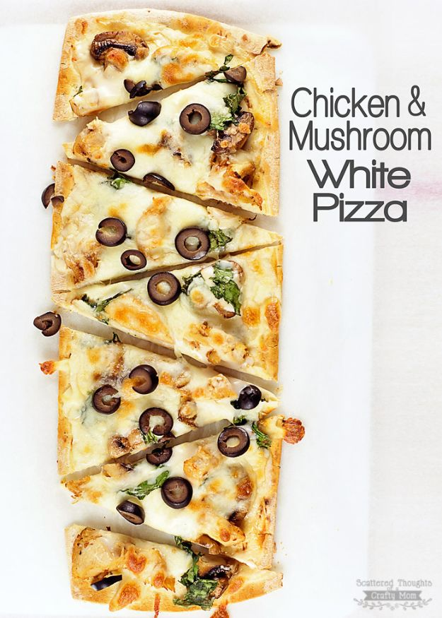 Easy Recipes For Rotisserie Chicken - Chicken and Mushroom White Pizza - Healthy Recipe Ideas for Leftovers - Comfort Foods With Chicken - Low Carb and Gluten Free, Crock Pot Meals, Appetizers, Salads, Sour Cream Enchiladas, Pasta, One Pot Meals and Casseroles for Quick Dinners http://diyjoy.com/recipes-rotisserie-chicken