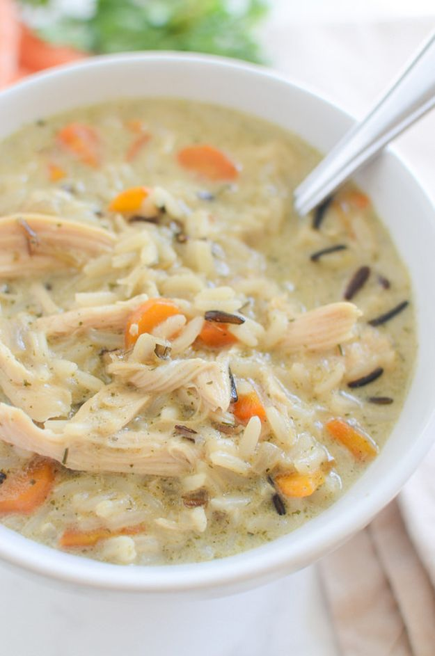 Easy Recipes For Rotisserie Chicken - Chicken and Wild Rice Soup - Healthy Recipe Ideas for Leftovers - Comfort Foods With Chicken - Low Carb and Gluten Free, Crock Pot Meals,#easyrecipes #dinnerideas #recipes
