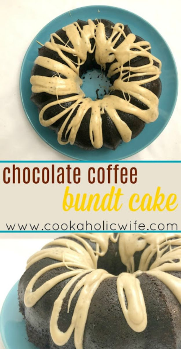Coffee Drink Recipes - Chocolate Coffee Bundt Cake with Espresso Glaze - Easy Drinks and Coffees To Make At Home - Frozen, Iced, Cold Brew and Hot Coffee Recipe Ideas - Sugar Free, Low Fat and Blended Drinks - Mocha, Frappucino, Caramel, Chocolate, Latte and Americano - Flavored Coffee, Liqueur and After Dinner Drinks With Alcohol, Dessert Ideas for Parties #coffeedrinks #coffeerecipes #coffee #drinkrecipes