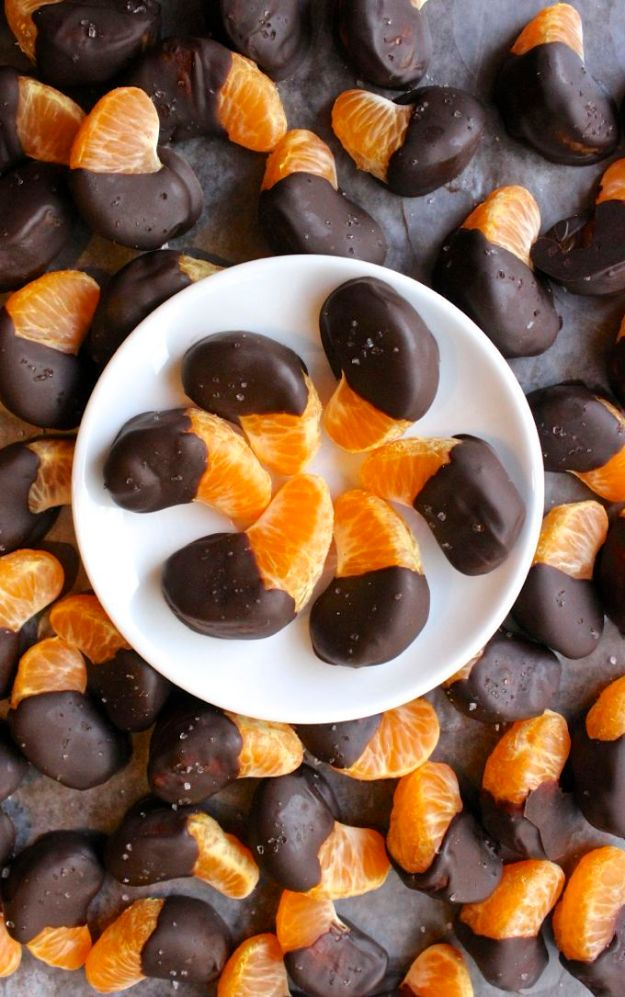 Quick Dessert Recipes - Chocolate Dipped Tangerines Recipe - Fast Desserts to Make In Minutes - Sweet Treats, Cookies, Cake and Snack Ideas
