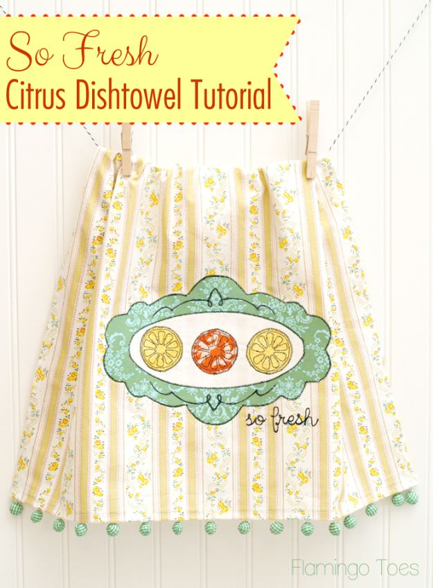 Cool Things To Sew For Summer - Citrus Embroidered Dishtowel - Easy Dresses, Cute Skirts, Maxi Dress, Shorts, Pants and Tops
