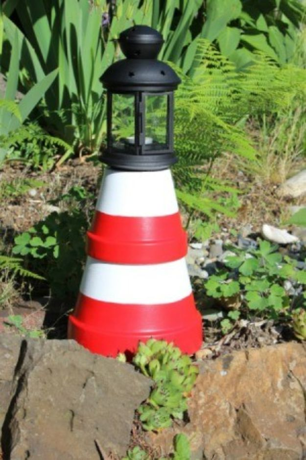 Creative Garden Art Ideas -Crafts for Outdoors - Cool Garden Art Ideas with Pots -How to Make A Clay Pot Lighthouse