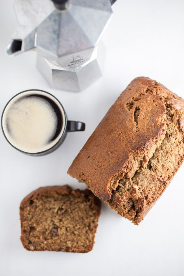 Coffee Drink Recipes - Coffee Infused Banana Bread - Easy Drinks and Coffees To Make At Home - Frozen, Iced, Cold Brew and Hot Coffee Recipe Ideas - Sugar Free, Low Fat and Blended Drinks - Mocha, Frappucino, Caramel, Chocolate, Latte and Americano - Flavored Coffee, Liqueur and After Dinner Drinks With Alcohol, Dessert Ideas for Parties #coffeedrinks #coffeerecipes #coffee #drinkrecipes