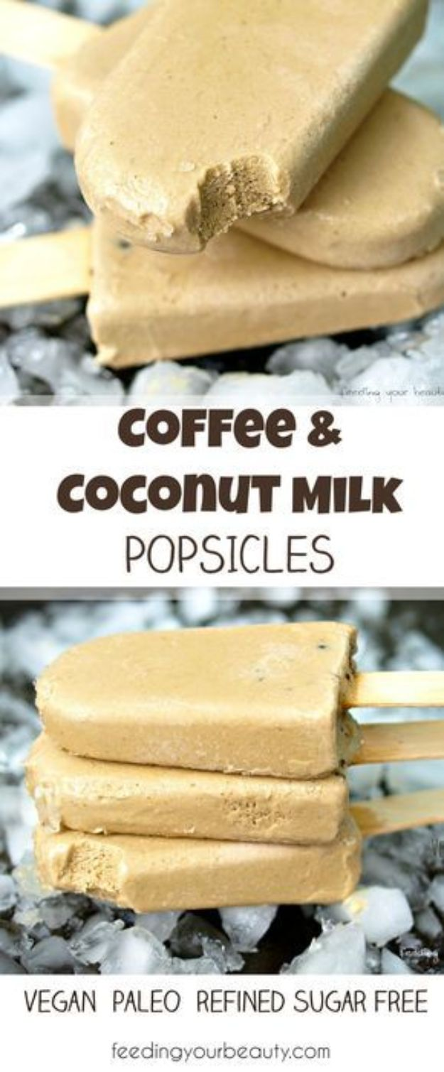 Coffee Drink Recipes - Coffee and Coconut Milk Popsicles - Easy Drinks and Coffees To Make At Home - Frozen, Iced, Cold Brew and Hot Coffee Recipe Ideas - Sugar Free, Low Fat and Blended Drinks - Mocha, Frappucino, Caramel, Chocolate, Latte and Americano - Flavored Coffee, Liqueur and After Dinner Drinks With Alcohol, Dessert Ideas for Parties #coffeedrinks #coffeerecipes #coffee #drinkrecipes