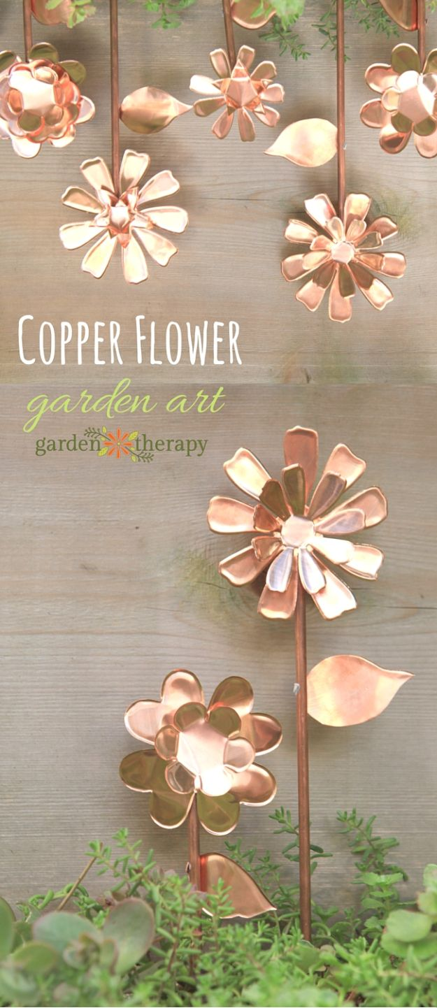 Creative Garden Art Ideas -Crafts for Outdoors - DYI Garden Ornaments to Make for Backyard Decoration - How to Make Copper Flowers for Backyard Decor