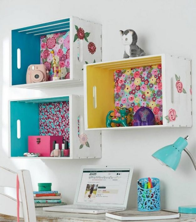 Crate Shelf With Fabric Back