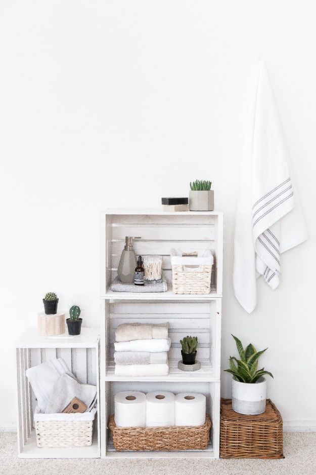 DIY Bathroom Decor Ideas - Rustic Crate Shelves Bathroom Organizer