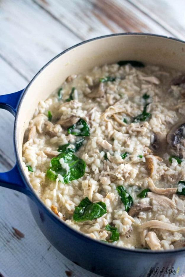 Easy Recipes For Rotisserie Chicken - Creamy Risotto Chicken Spinach - Healthy Recipe Ideas for Leftovers - Comfort Foods With Chicken - Low Carb and Gluten Free, Crock Pot Meals,#easyrecipes #dinnerideas #recipes