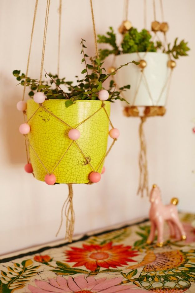 DIY Plant Hangers - DIY Beaded Plant Hangers - Cute and Easy Home Decor Ideas for Plants - How To Make Planters, Hanging Pot Holders, Wire, Rope and Baskets - Quick DIY Gifts Ideas, Macrame Plant Hanger #gardening #plants #diyideas