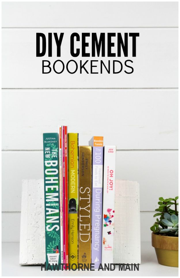 All White DIY Room Decor - DIY Cement Bookends - Creative Home Decor Ideas for the Bedroom and Living Room, Kitchen and Bathroom - Do It Yourself Crafts and White Wall Art, Bedding, Curtains, Lamps, Lighting, Rugs and Accessories - Easy Room Decoration Ideas for Modern, Vintage Farmhouse and Minimalist Furnishings - Furniture, Wall Art and DIY Projects With Step by Step Tutorials and Instructions #diydecor