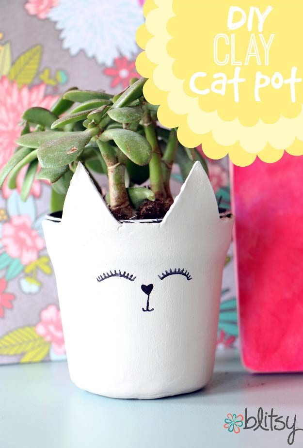 All White DIY Room Decor - DIY Clay Plant Pot - Creative Home Decor Ideas for the Bedroom and Living Room, Kitchen and Bathroom - Do It Yourself Crafts and White Wall Art, Bedding, Curtains, Lamps, Lighting, Rugs and Accessories - Easy Room Decoration Ideas for Modern, Vintage Farmhouse and Minimalist Furnishings - Furniture, Wall Art and DIY Projects With Step by Step Tutorials and Instructions #diydecor