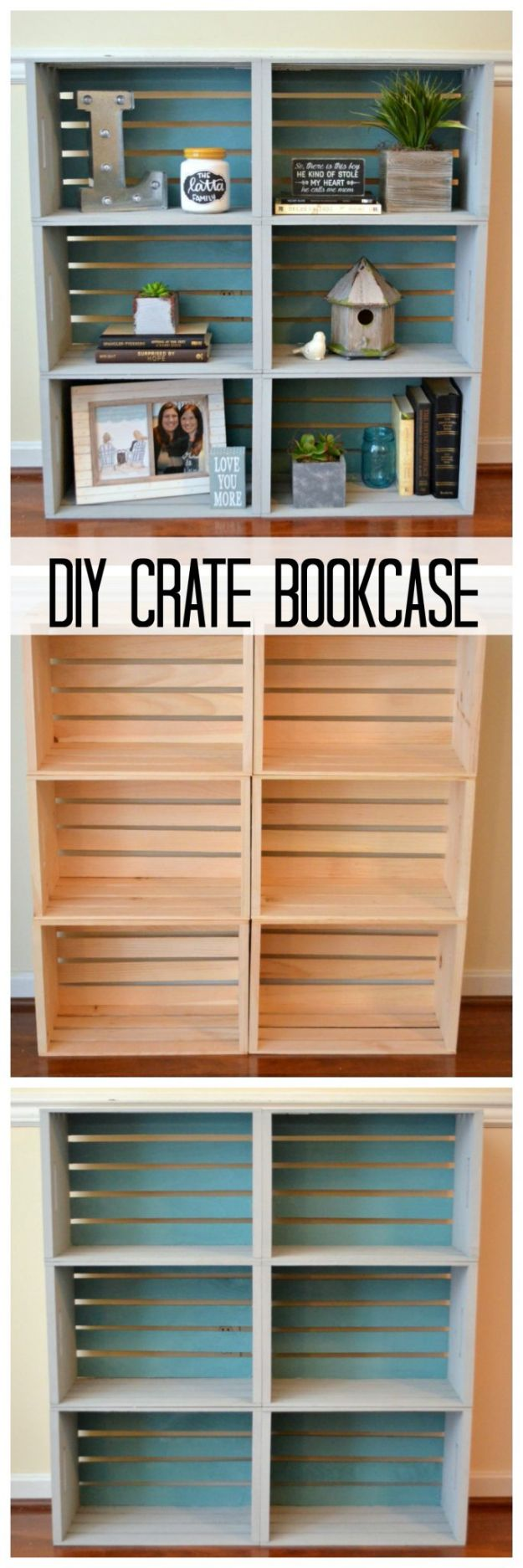 DIY Crate Bookcase - Painted Furniture Ideas - DIY Shelving and Organization Ideas for Home - Cheap Bookcases to Make