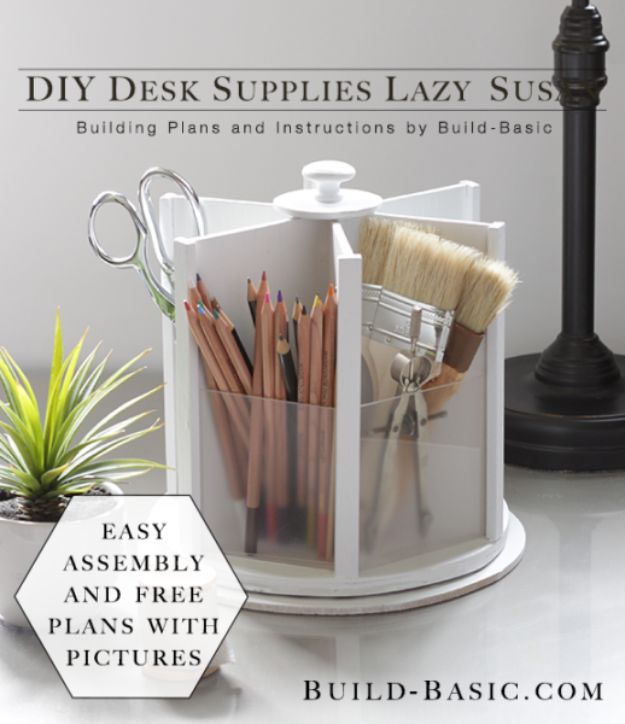 All White DIY Room Decor - DIY Desk Supplies Lazy Susan - Creative Home Decor Ideas for the Bedroom and Living Room, Kitchen and Bathroom - Do It Yourself Crafts and White Wall Art, Bedding, Curtains, Lamps, Lighting, Rugs and Accessories - Easy Room Decoration Ideas for Modern, Vintage Farmhouse and Minimalist Furnishings - Furniture, Wall Art and DIY Projects With Step by Step Tutorials and Instructions #diydecor