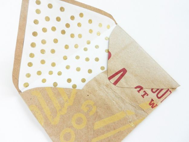 DIY Stationery Ideas - DIY Envelope Liners with Gold Polka Dots - Easy Projects for Making, Decorating and Embellishing Stationary - Cute Personal Papers and Cards With Creative Art Ideas and Designs - Monogram and Brush Lettering Tips and Tutorials for Envelopes and Notebook - Stencil, Marble, Paint and Ink, Emboss Tutorials - A Handmade Card Set or Box Makes An Awesome DIY Gift Idea - Printables and Cool Ideas for Kids http://diyjoy.com/diy-stationery-ideas