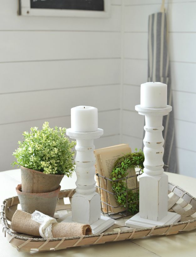 All White DIY Room Decor - DIY Farmhouse Candlesticks - Creative Home Decor Ideas for the Bedroom and Living Room, Kitchen and Bathroom - Do It Yourself Crafts and White Wall Art, Bedding, Curtains, Lamps, Lighting, Rugs and Accessories - Easy Room Decoration Ideas for Modern, Vintage Farmhouse and Minimalist Furnishings - Furniture, Wall Art and DIY Projects With Step by Step Tutorials and Instructions http://diyjoy.com/all-white-decor-ideas