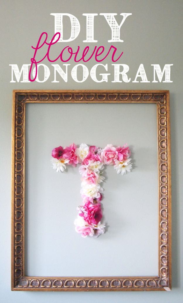 DIY Modern Home Decor - DIY Faux Flower Monogram - Room Ideas, Wall Art on A Budget, Farmhouse Style Projects - Easy DIY Ideas and Decorations for Apartments, Living Room, Bedroom, Kitchen and Bath - Fixer Upper Tips and Tricks