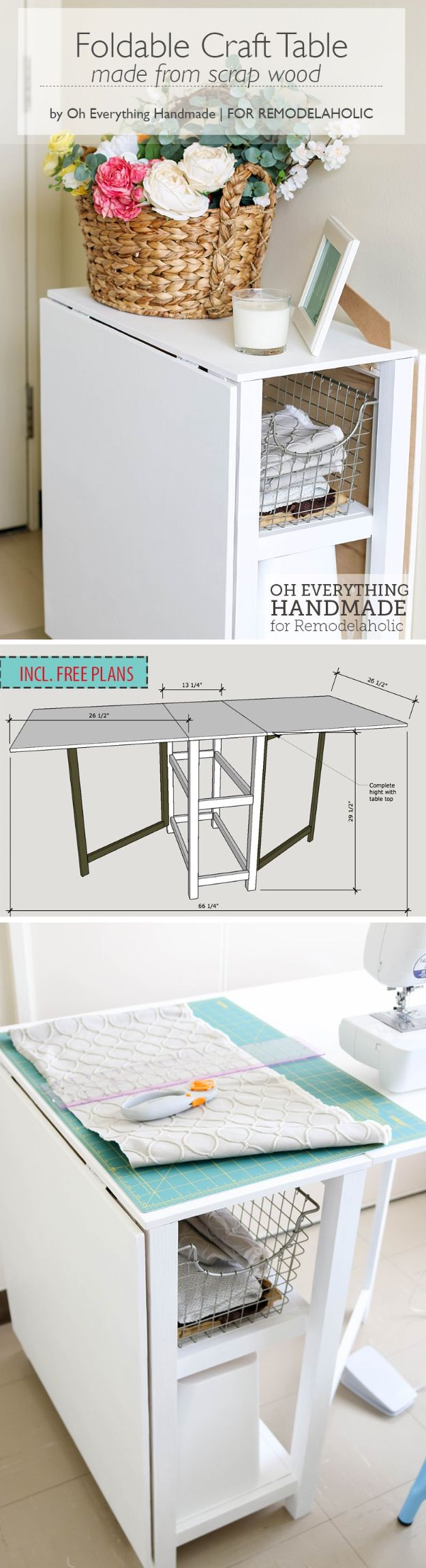 All White DIY Room Decor - DIY Foldable Craft Table - Creative Home Decor Ideas for the Bedroom and Living Room, Kitchen and Bathroom - Do It Yourself Crafts and White Wall Art, Bedding, Curtains, Lamps, Lighting, Rugs and Accessories - Easy Room Decoration Ideas for Modern, Vintage Farmhouse and Minimalist Furnishings - Furniture, Wall Art and DIY Projects With Step by Step Tutorials and Instructions #diydecor