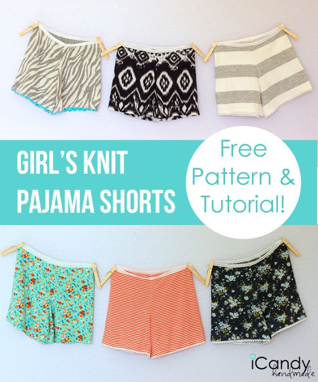 Cool Things To Sew For Summer - DIY Girls Knit Pajama Shorts - Easy Dresses, Cute Skirts, Maxi Dress, Shorts, Pants and Tops