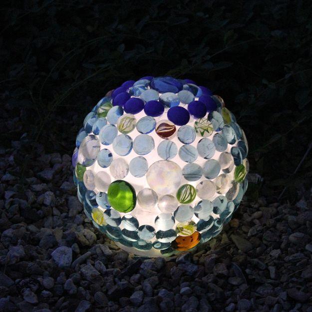 Creative Garden Art Ideas -Crafts for Outdoors - DYI Garden Ornaments to Make for Backyard Decoration - DIY Glowing Garden Ball Lantern - Dollar Store Crafts for Yard