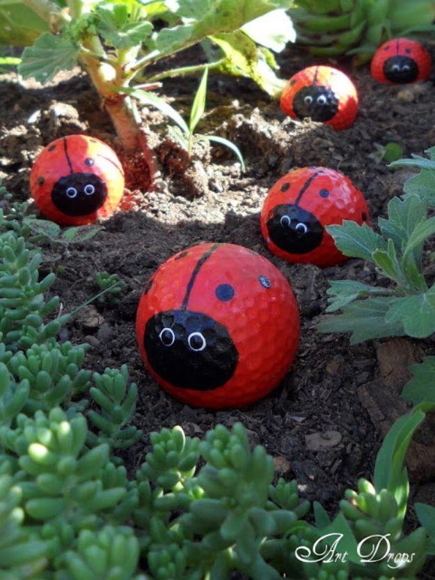 Creative Garden Art Ideas -Crafts for Outdoors - DYI Garden Ornaments to Make for Backyard Decoration - Golf Ball Ladybugs