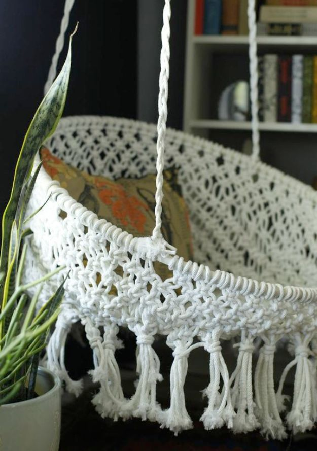 All White DIY Room Decor - DIY Hanging Macrame Chair - Creative Home Decor Ideas for the Bedroom and Living Room, Kitchen and Bathroom - Do It Yourself Crafts and White Wall Art, Bedding, Curtains, Lamps, Lighting, Rugs and Accessories - Easy Room Decoration Ideas for Modern, Vintage Farmhouse and Minimalist Furnishings - Furniture, Wall Art and DIY Projects With Step by Step Tutorials and Instructions #diydecor