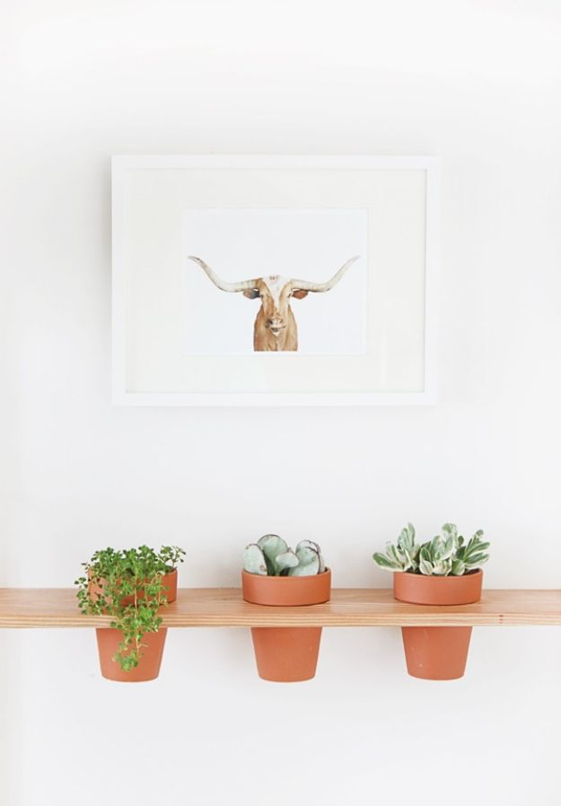 DIY Plant Hangers - DIY Hanging Planter Shelf - Cute and Easy Home Decor Ideas for Plants - How To Make Planters, Hanging Pot Holders, Wire, Rope and Baskets - Quick DIY Gifts Ideas, Macrame Plant Hanger #gardening #plants #diyideas
